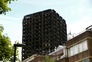 Grenfell tower building after fire