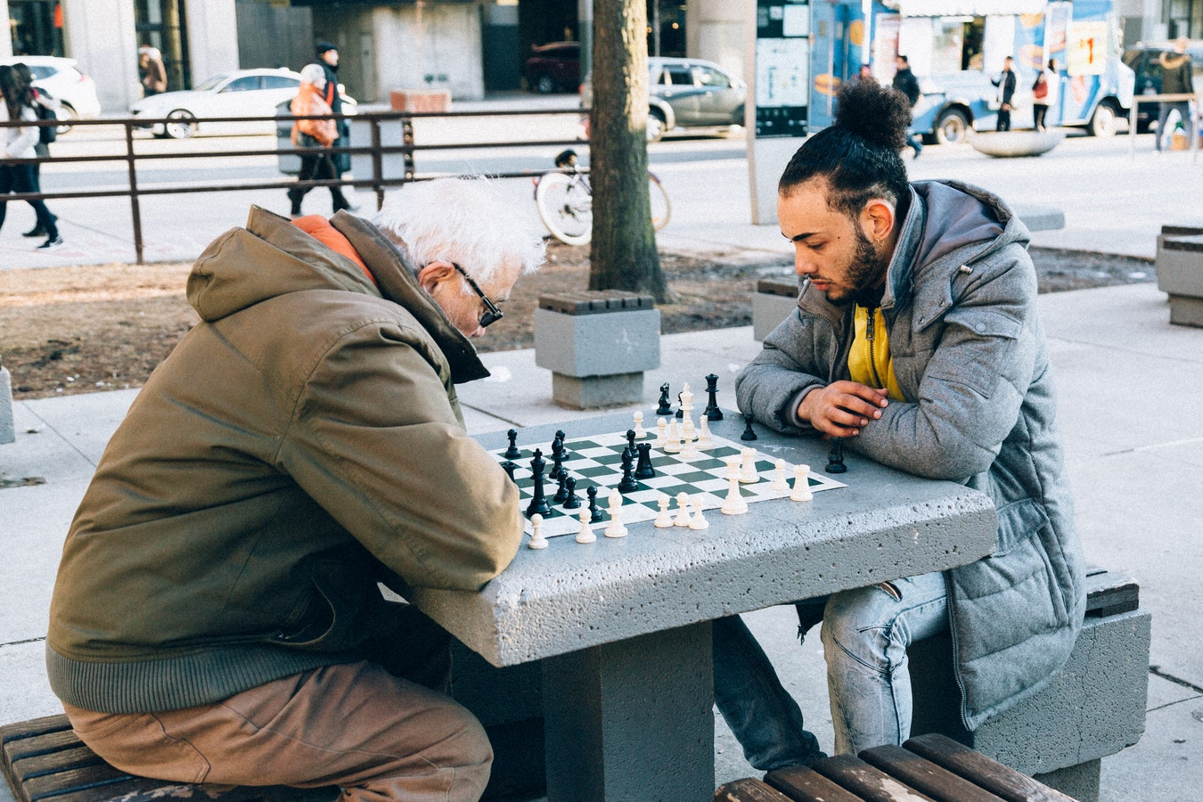 two people, an elderly person and a young man playing chess